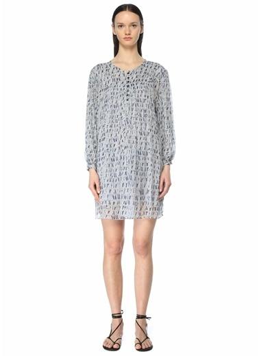 Etoile Isabel Marant Etoile Isabel Marant  Desenli Uzun Kol Mini Elbise 101601853 Mavi